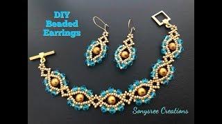 Crystal Eye Earrings. Beaded Earrings. How to make beaded earrings