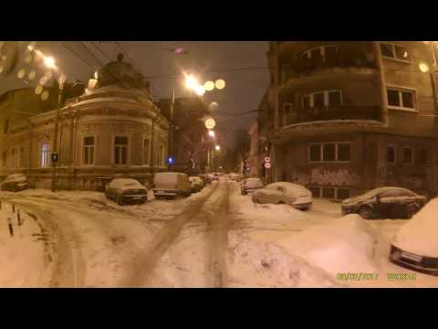 Tram ride through the snow. ( Bucharest)