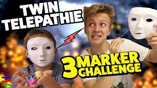 CREEPY MASK 👽 3 Marker TWIN Challenge 💀 TipTapTube Family 👨‍👩‍👦‍👦