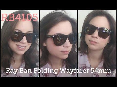 fd4e9d30d2a Ray Ban 4105 54mm Review Large Folding Wayfarer - YouTube