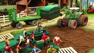 Rc Tractor Action - A NEW LAWN ON THE FARM /Rc Toy Fun