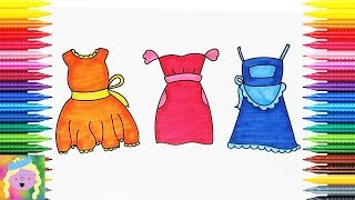 Learn How To Draw And Color Dresses | Kids Learn Drawing And Coloring | Fun Coloring Pages For Kids