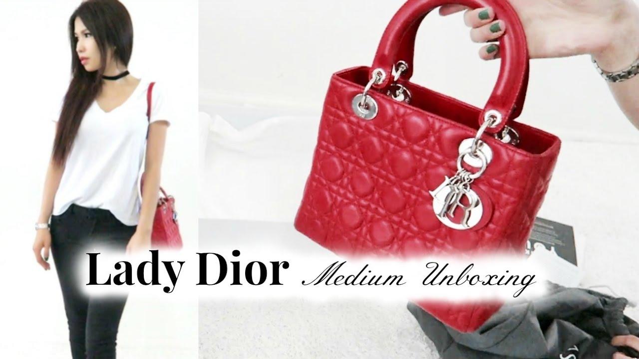 Lady Dior Medium Unboxing - YouTube 7f6eb1fb0bac2