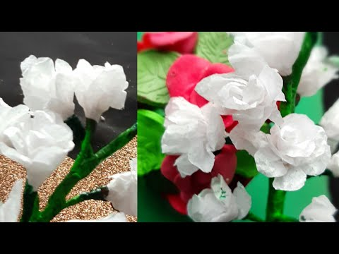 Tissue Paper കൊണ്ട് പൂവുണ്ടാക്കാം // How To Make Baby Birth flower With Tissue Paper//