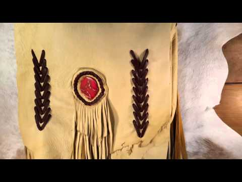 Handmade Deerskin Bag with Fringe, Stone Accent, and Deerskin Leather Lacing