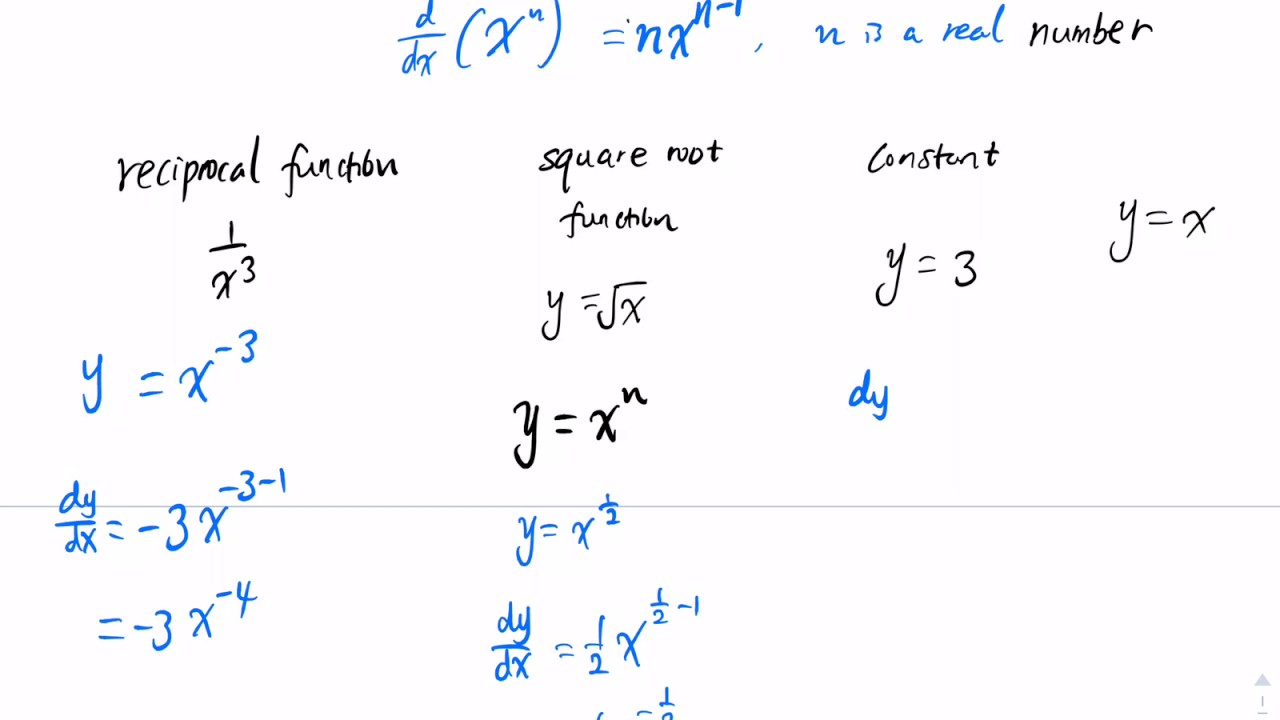 Differentiation Of Power Functions Advanced Examples Youtube