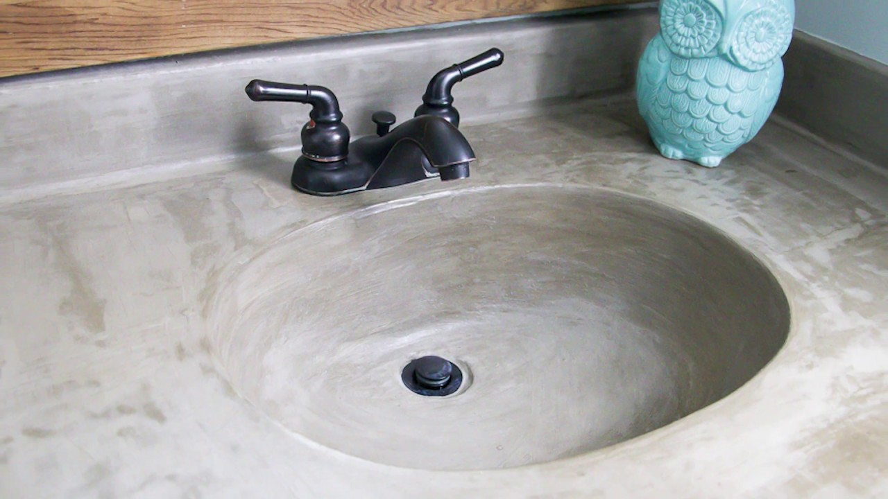 bathroom sink makeover diy vanity makeover concrete overlay 11358