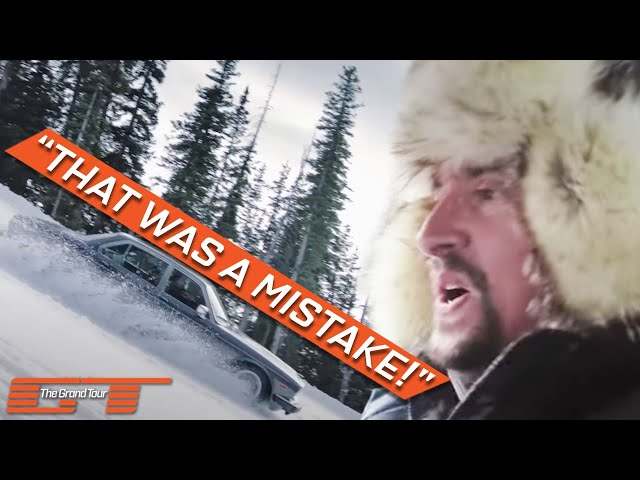 Jeremy Clarkson, Richard Hammond and James May skiing in their cars