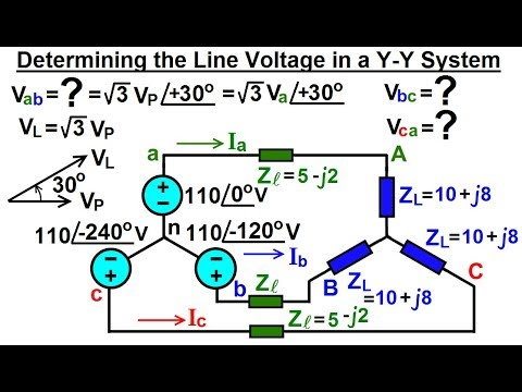 Electrical Engineering: Ch 13: 3 Phase Circuit (15 of 42) How to Find the  Line Voltages? Y-Y