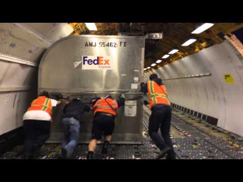 Funny FedEx Cargo Airplane Loading Fail - Trip, Fall and Drag