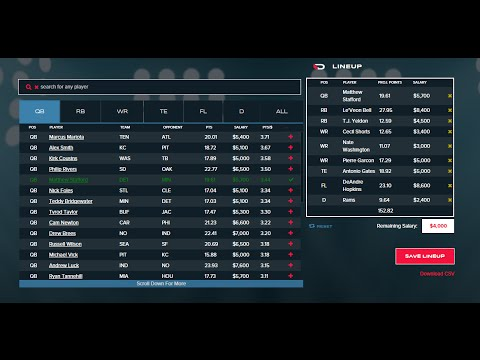 daily fantasy sports rankings new lineup tool youtube