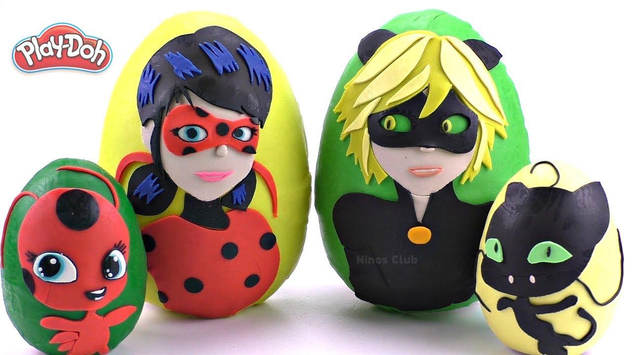 Download Huevos Sorpresas Gigantes de Ladybug y Cat Noir Tikki y Plagg de Plastilina Play Doh