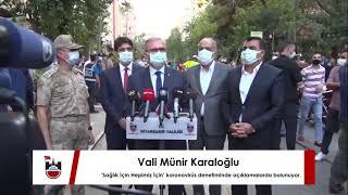 Vali Münir Karaloğlu, 'Sağlık İçin Hepimiz İçin' koronavirüs denetiminde açıklamalarda bulunuyor.