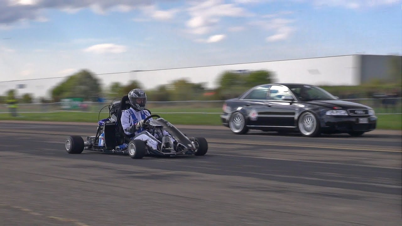 Go kart vs audi s4 vs porsche epic automotive battle gineersnow audi s4 vs porsche epic automotive battle sciox Images
