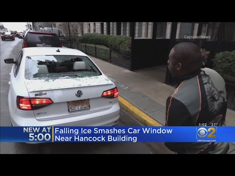 Lance Houston - Rear Car Windshield Shattered by Falling Ice in Downtown Chicago