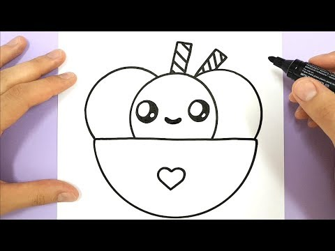 HOW TO DRAW CUTE ICE CREAM BOWL WITH LOVE HEART - HAPPY DRAWINGS