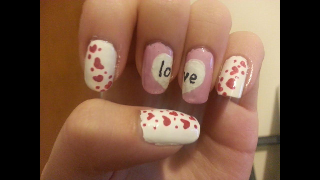 Diseño de uñas para San Valentin de love , Nail Art