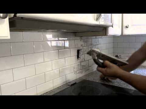 Grout Application on a kitchen backsplash