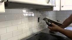 Grout Application on a kitchen backsplash