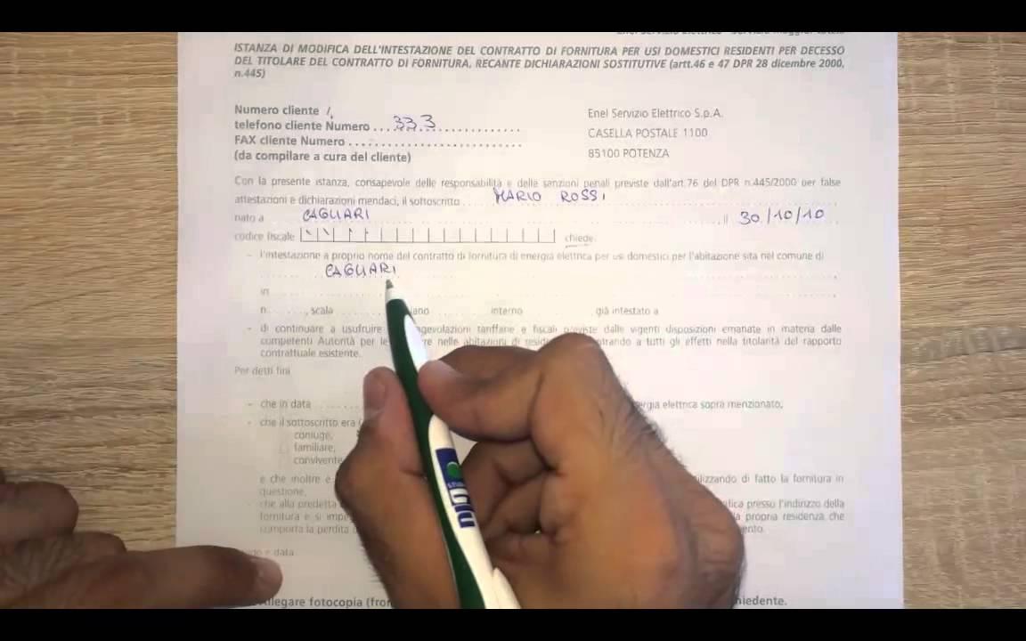 voltura contratto enel residenti decesso intestatario - youtube