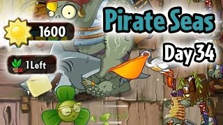 Plants vs Zombies 2 - Pirate Seas Day 34: Last Stand + Don't Lose More Than 1 Plant | Pinata 4/25/17