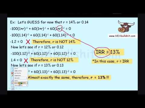 IRR Part 3 of 3 How to Calculate Internal Rate of Return Explained  MBAbullshit.com