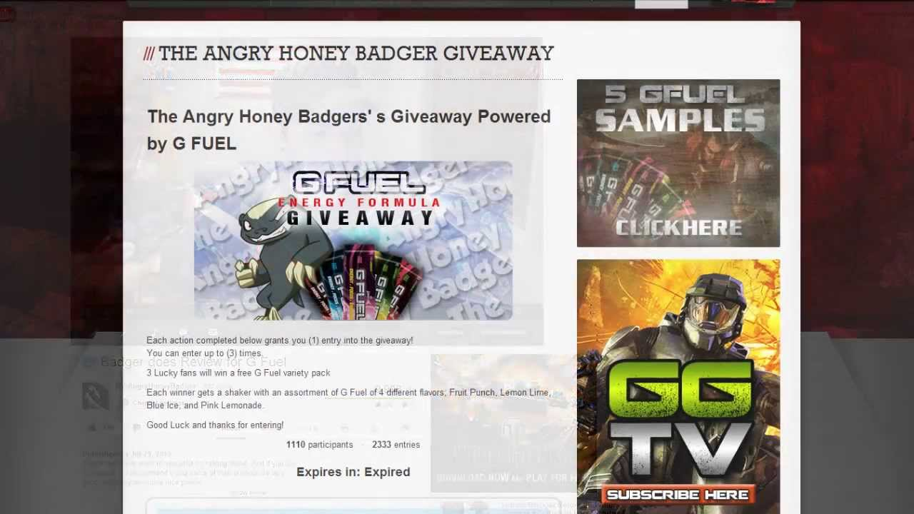 Badger has Free Samples!! - G Fuel - YouTube