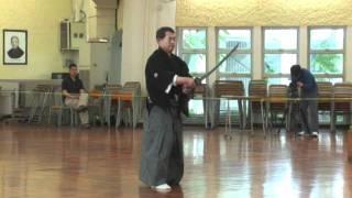 Hataya sensei's Military Toyama Ryu kata and tameshigiri enbu. Reco...