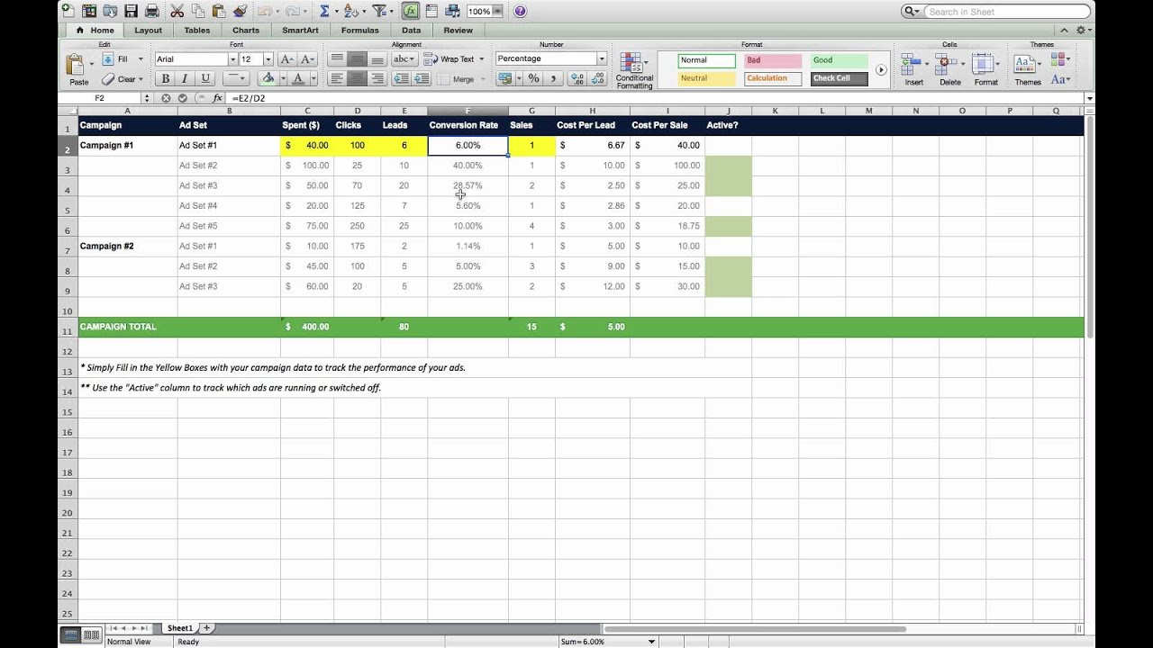 Marketing Campaign Tracking Excel Template For Digital Business ...
