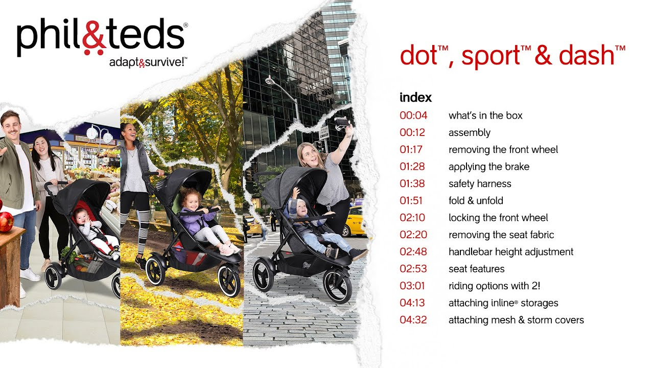dot™, sport™ & dash™ inline® strollers instructional video | phil&teds