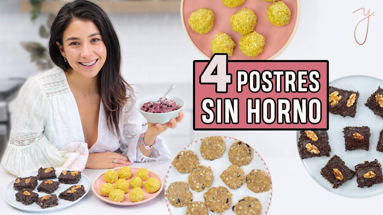 4 POSTRES SIN HORNO | Fáciles, Saludables y Deliciosos 🍪