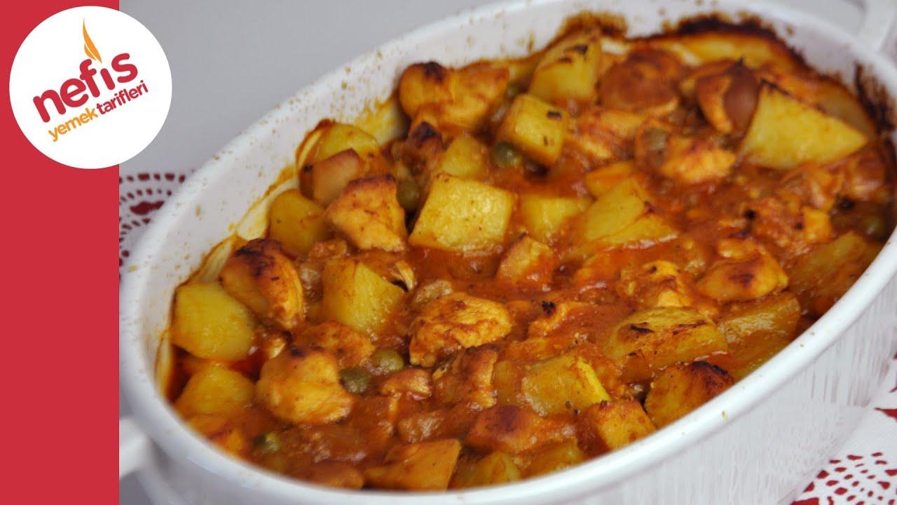 Tavuk, fırında patateslerle pişirilir - basit ve lezzetli bir yemektir