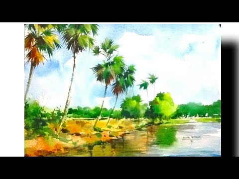 Beautiful Landscape in watercolour/by Rahul/inspire from my guru Milind mulick sir.