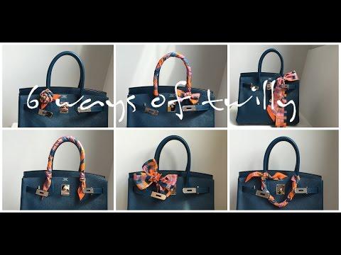 6 Ways to Tie Hermes Twilly (How to wrap Twilly onto Handbags: Birkin/ Kelly/ Lindy/ Garden Party)