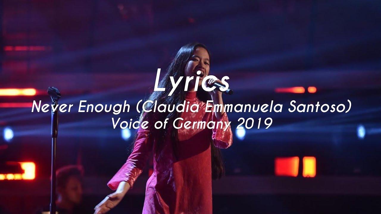 Download Lyrics Never Enough (Claudia Emmanuela Santoso) Voice of Germany 2019