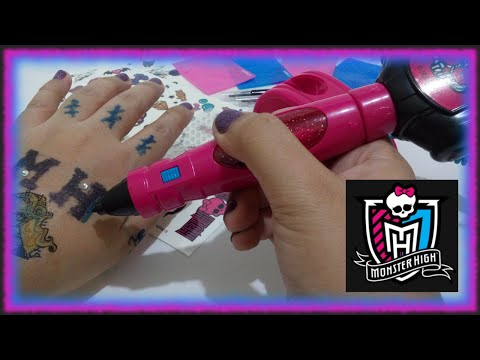 Tattoo Maker Toy Machine- Mattel Monster High with Stencil and Sticker ♥ Toys World Video
