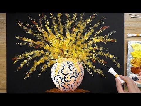 Cara Melukis Bunga Forsythia Dalam Vas Menggunakan Cat Akrilik | Musim Semi