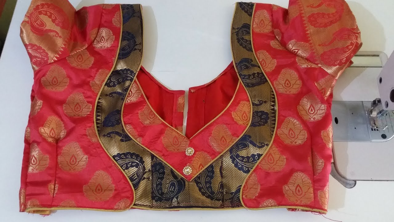 787558571dc93 paithani blouse back neck design cutting and stitching - YouTube