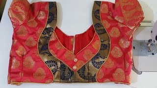 paithani blouse back neck design cutting and stitching