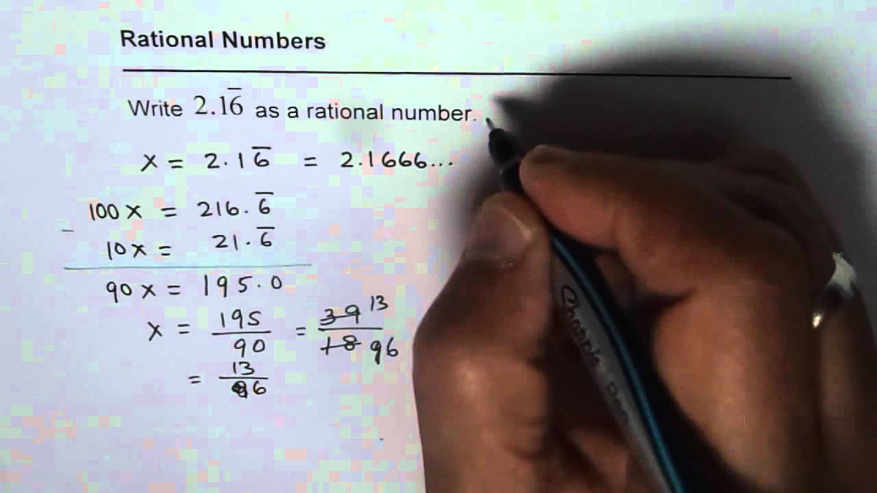 express the repeating decimal number as a quotient of two integers