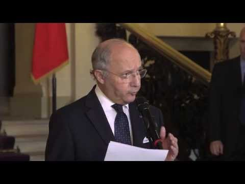 "Ukraine : point presse de Laurent Fabius suite à la réunion format ""Normandie"""