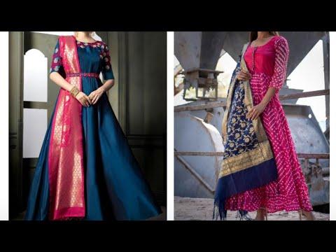 Stylish Anarkali suit Images 2019 | Floor Length gown with Banarsi Dupatta Designs