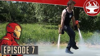One of the Hacksmith's most viewed videos: Flying Like Iron Man, Part 7: First test with rockets!