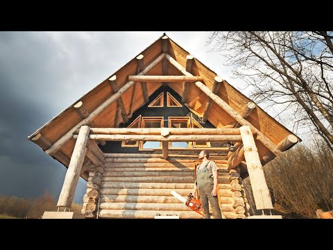 Building the BIGGEST DIY Log Cabin / Working OFF GRID / Second Year REVIEW ( Woodworking )