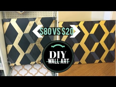 DIY Wall Decor | $80 Hobby Lobby geometric art →  $20 DIY!