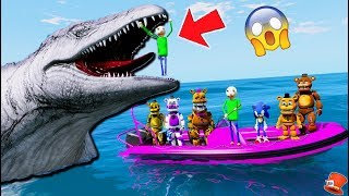 Freddy & Baldi & Sonic VS Giant Evil Mosasaurus Jurassic World! (GTA 5 Mods FNAF)