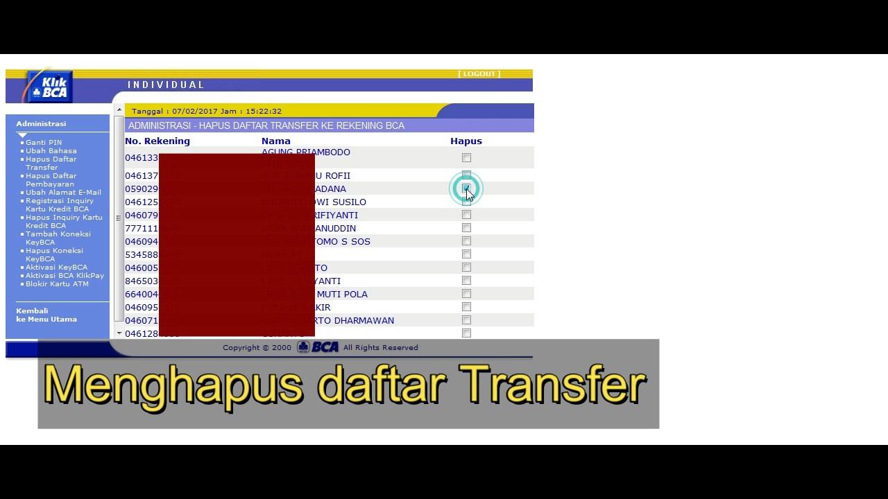 Cara Menghapus Daftar Transfer Bca Internet Banking Youtube