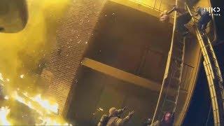 תיעוד דרמטי: הורים מחלצים תינוקות מבניין בוער | מתוך חדשות הערב 16.01.18