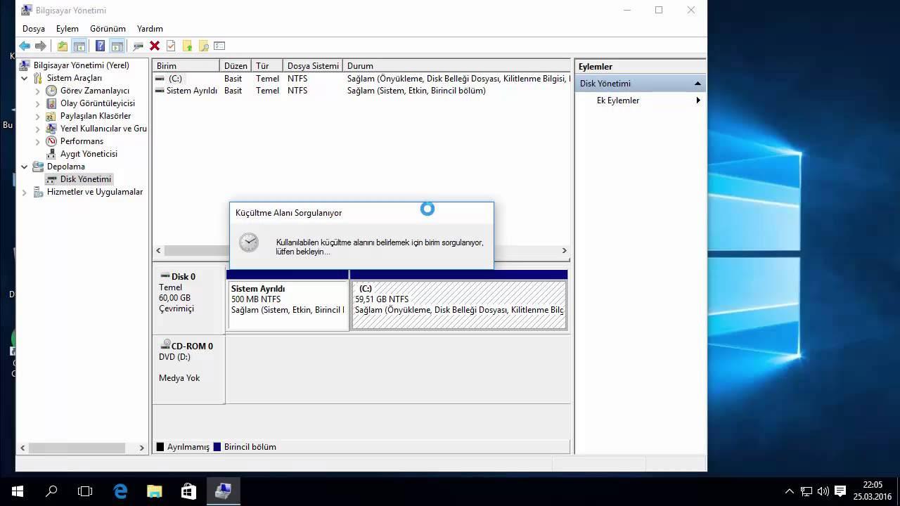 Windows 10 Harddisk Bölme