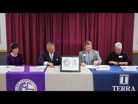 Terra State Community College and Cincinnati College of Mortuary Science signing